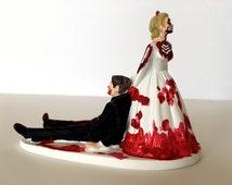 Funny Wedding Cake Topper Love Never Dies Funny Zombie Wedding Cake Topper - Zombie Bride Dragging Groom Away