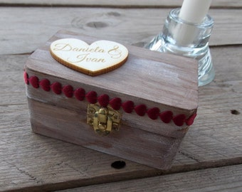 Ring box Ruby hearts-ring box/ring/ring bearer box/wedding