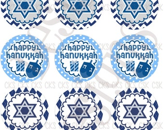 "1"" Digital Bottle Cap Sheet **INSTANT DOWNLOAD** Happy Hanukkah"