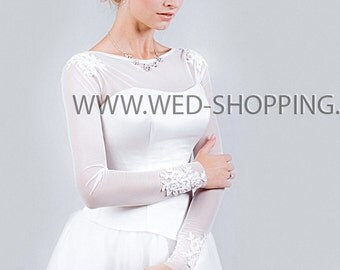 Stretch tulle lace wedding bolero jacket for brides E1513 Tight bolero Wedding Top long sleeved Tule bolero Strepless dress cover shoulders