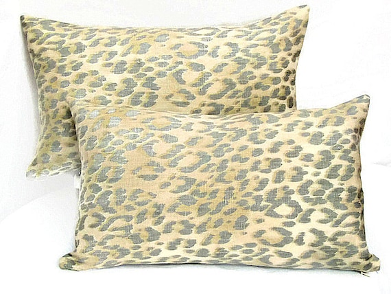 Lumbar leopard pure linen throw pillow cover 12x20 Bosana
