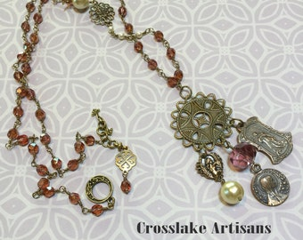Wire-wrapped Swarovski crystal necklace with bronze toggle and beaded elements