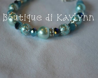Silver and Teal Beaded Bracelet