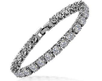 Swarovski bridal bracelet, tennis bracelet, wedding jewelry, bridesmaid bracelet, luxury bridal jewelry
