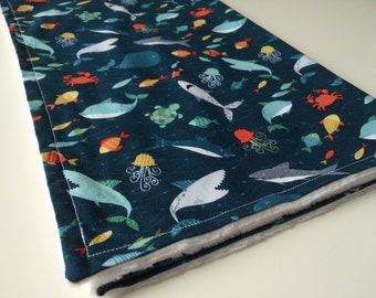 Baby blanket - Minky baby blanket - Sharks baby blanket - Blue baby blanket - Fish baby blanket - Super soft baby blanket - Baby shower gift