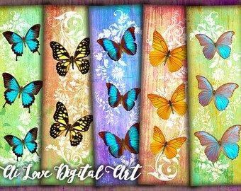 Butterfly bookmark printable, digital collage sheet, instant download, digital download, printable images bookmarks making, scrapbooking