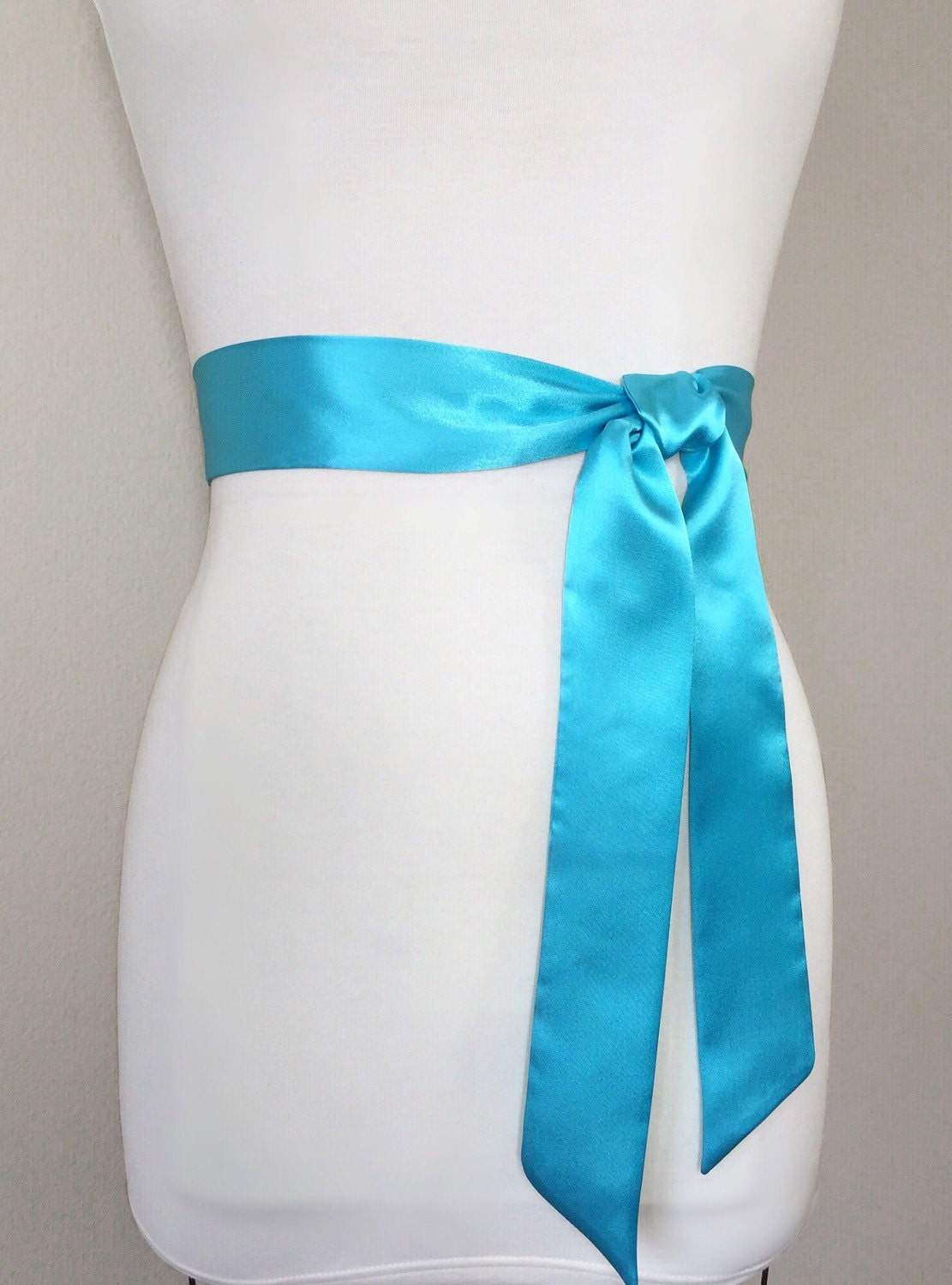 Aqua satin sash belt aqua blue sash aqua bridesmaid sash for Blue sash for wedding dress