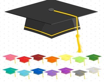 Graduation Caps Clipart, Digital Graduation Caps, Graduation, Printable, Commercial Use