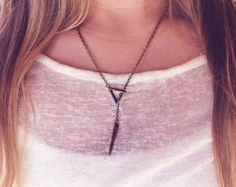Bronze minimalist slide through spike necklace