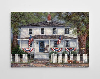 """Patriotic Painting, American Flag Canvas Art, Large Painting, Folk Art Canvas Wall Art, 4th of July """"American Roots"""" by Chuck Pinson-3733-GW"""