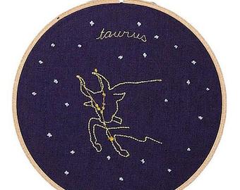 Toro (20 aprile - 20 maggio) ricamo dello zodiaco