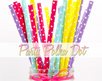 COLOR POLKA DOT - Color Polka Dots Combination Paper Straws - Party Paper Straws - Wedding - Birthday Decorations