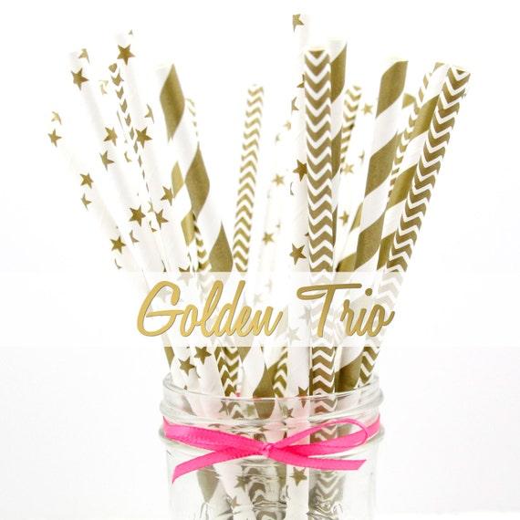GOLD Stripes, Stars and Chevron Paper Straws - Party Paper Straws - Wedding - Birthday Decorations