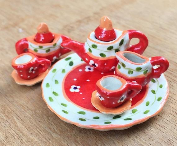 Miniature Tea Set,Miniature Coffee Set,Dollhouse Tea set,Miniature Tea Pot,Dollhouse Tea Pot,Dollhouse Coffee,Miniature Flower,Tea