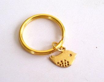 Gold Bird Keychain, Gold Little Birdie Key Ring, Girls Keychain, Little Bird Key Ring