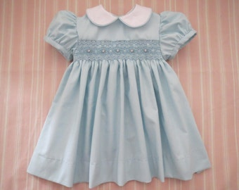 Beautiful Baby Blue, White and Pink Hand Smocked Dress for Baby Girl. Toddler Girl. Spring or Easter Dress. Baby Gift.