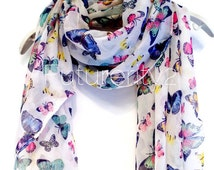Flower/Butterfly Off White Summer Scarf / Spring Scarf / Gift For Her / Womens Scarves / Fashion Accessories