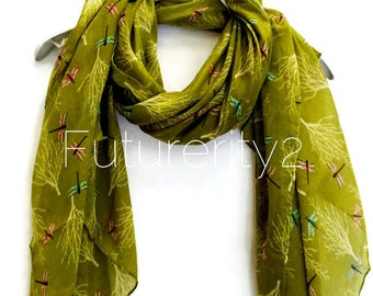 Drogonfly And Tree Olive Green Scarf / Spring Summer Scarf / Autumn Scarf / Women Scarves / Gifts For Her / Handmade Accessories