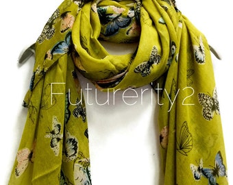 Butterfly Olive Green Scarf / Spring Scarf / Summer Scarf / Gifts For Her / Women Scarves / Accessories / Handmade