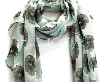 Retro Dandelion Light Blue Scarf / Spring Summer Scarf / Autumn Scarf / Women Scarves / Gifts For Her / Handmade