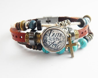 Faith Bracelet Christian Jewelry Cross Bracelets Snap Jewelry Leather Charm Jesus Jewellery Inspirational Bracelets Cute Gift Ideas