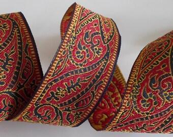"Jacquard Ribbon Trim   Paisley Ribbon Trim~black~red and mustard~1-1/16"""