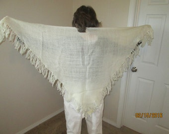 Off white, wool blend hand woven shawl