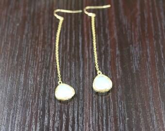 white crystal long drop earrings gold plated brass bezel hook earring dainty chandelier earring long chain earring bridesmaid jewelry gift