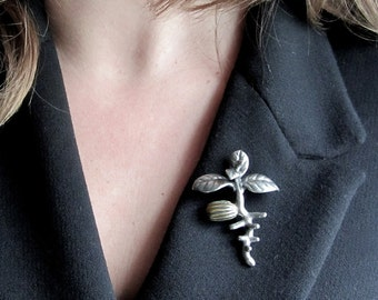 Olive Tree Pin - Seedling, Botany Jewelry, Biology Lapel Pin, Brooch