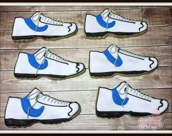 Running Shoes, Sneakers, Tennis Shoes Decorated Sugar Cookies (3 inch) -1 dozen