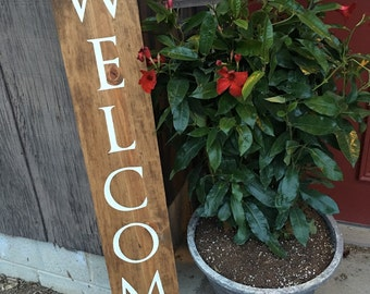 "Handpainted wooden ""Welcome"" sign, porch decor, garden ornament, deck decor, spring decor, Father's Day gift, fall decor"