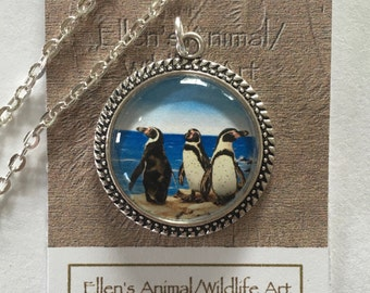Penguin necklace, Penguin Pendant, Penguin Jewelry, Humboldt, animal lovers, Wildlife art, Penguin art