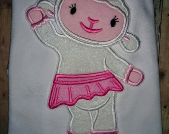 Girls Doc McStuffins Lambie Lamb Boutique Birthday Embroidered Applique T-Shirt Tshirt Shirt 2 3 4 5 6 8 10 12