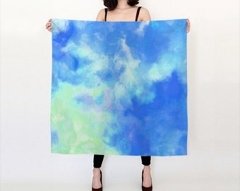 Blue and Grean, Watercolor Silk Scarf, Original Abstract Watercolor,
