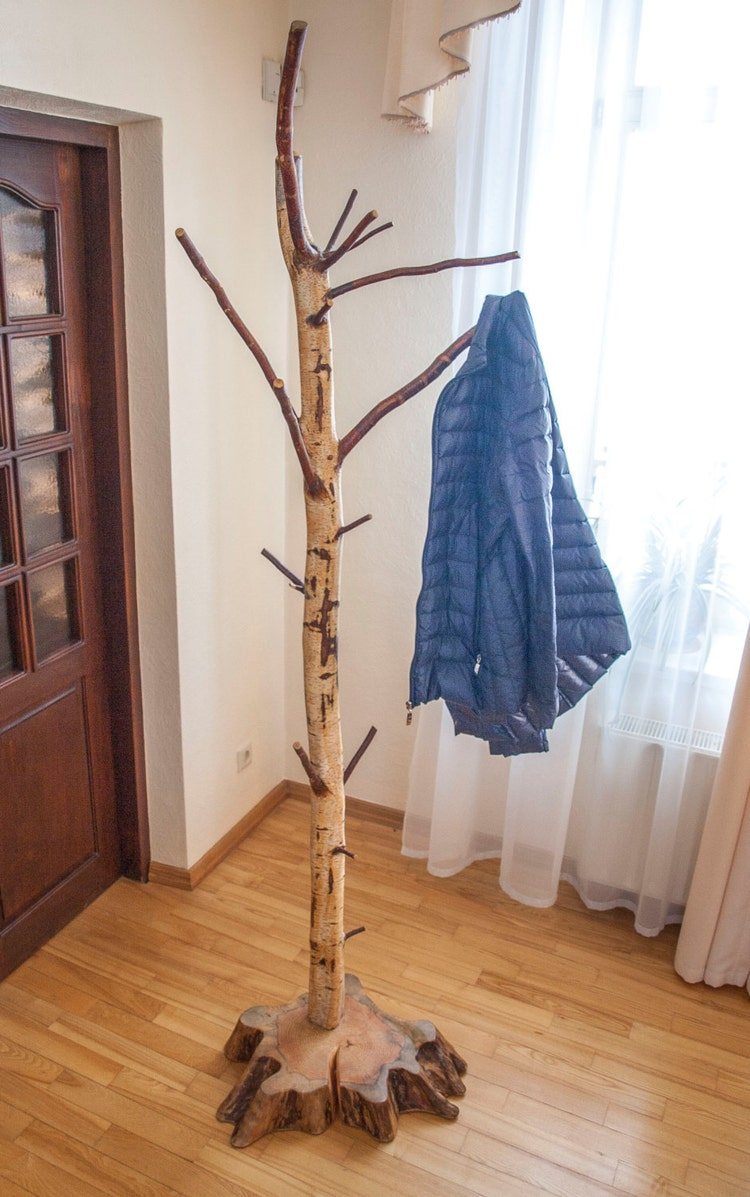 Coat Rack Free Standing Birch Coat Stand By