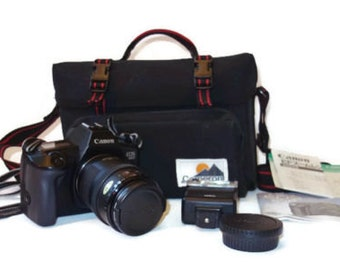 Vintage Canon EOS 650 Camera Bundle With 35-105mm Zoom Lens Flash & Carry Case 1987