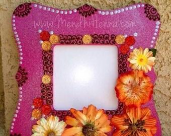 Pink shimmer small henna frame