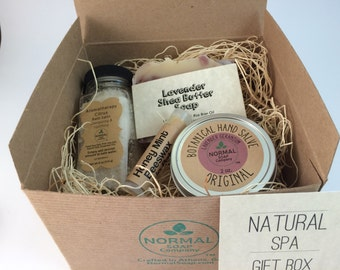 Natural Spa Gift Box of natural handmade soap, lip balm, botanical hand salve and Aromatherapy bath salts