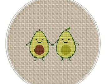 Avocado Cross Stitch Pattern, Kawaii Cross Stitch Pattern, funny cross stitch, cross stitch PDF, Instant download, MCS137