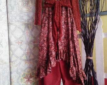 Women's handmade top/ women's handmade dress/ pine cone dress/ whimsical dress/ cottage chic clothing/ lagenlook top/ Lagenlook dress
