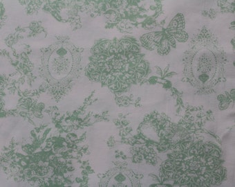 Floral Butterfly in Light Green KNIT by Stenzo Textiles, Premium Euro Cotton - Spandex Jersey Knit, Netherlands