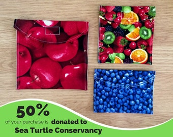 Fruit Combo Set of 3 Reusable Snack Bags with PUL Fabric