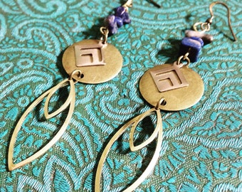 Art Deco Lapis Earrings