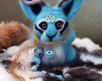 Handmade Needle-Felted Wool Pagan Poppet Jackalope in Blue