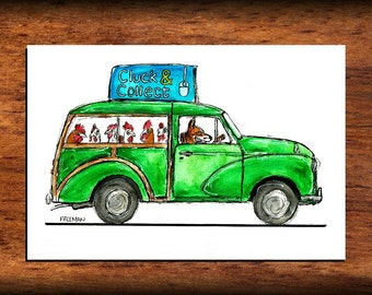 Free Range Chicken delivery by Mr Fox.  Morris Traveller art print