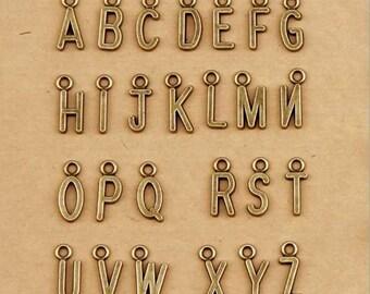 2set -26 Alphabet Letter Charm Pendant Antique Brass Initial Charm 7x16mm MT1-030