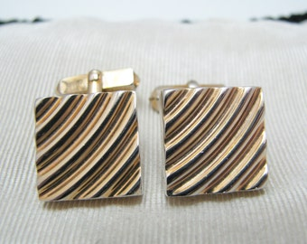 Vintage Square Gold Tone Cuff links by Swank from the 1970's