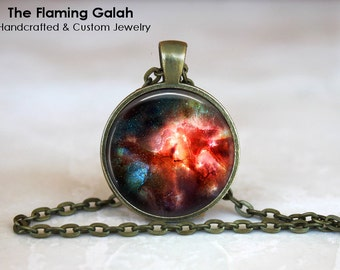RED NIGHT SKY Pendant •  Red Solar System •  Red Outer Space •  Red Cosmos •  Red Universe • Gift Under 20 • Made in Australia (P0237)