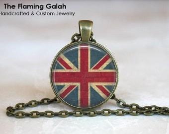 UNION JACK Pendant • Vintage UK Flag • United Kingdom Flag • Vintage Great Britain Flag • Gift Under 20 • Made in Australia (P0443)