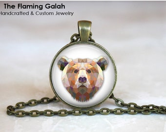 BROWN BEAR Pendant •  Geometric Bear •  Grizzly Bear •  Animal Lover • Gift Under 20 • Made in Australia (P0301)